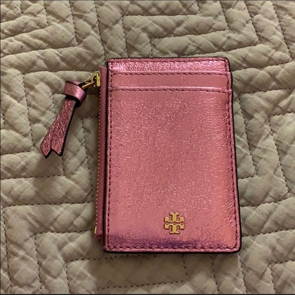 Tory Burch Handbags - Tory Burch Pink Metallic Card Holder